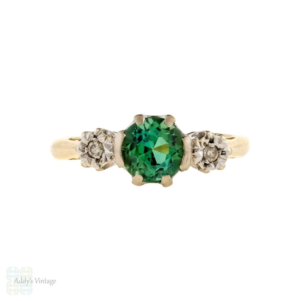 Tourmaline & Diamond Vintage Three Stone Engagement Ring, 18ct Gold & Platinum.