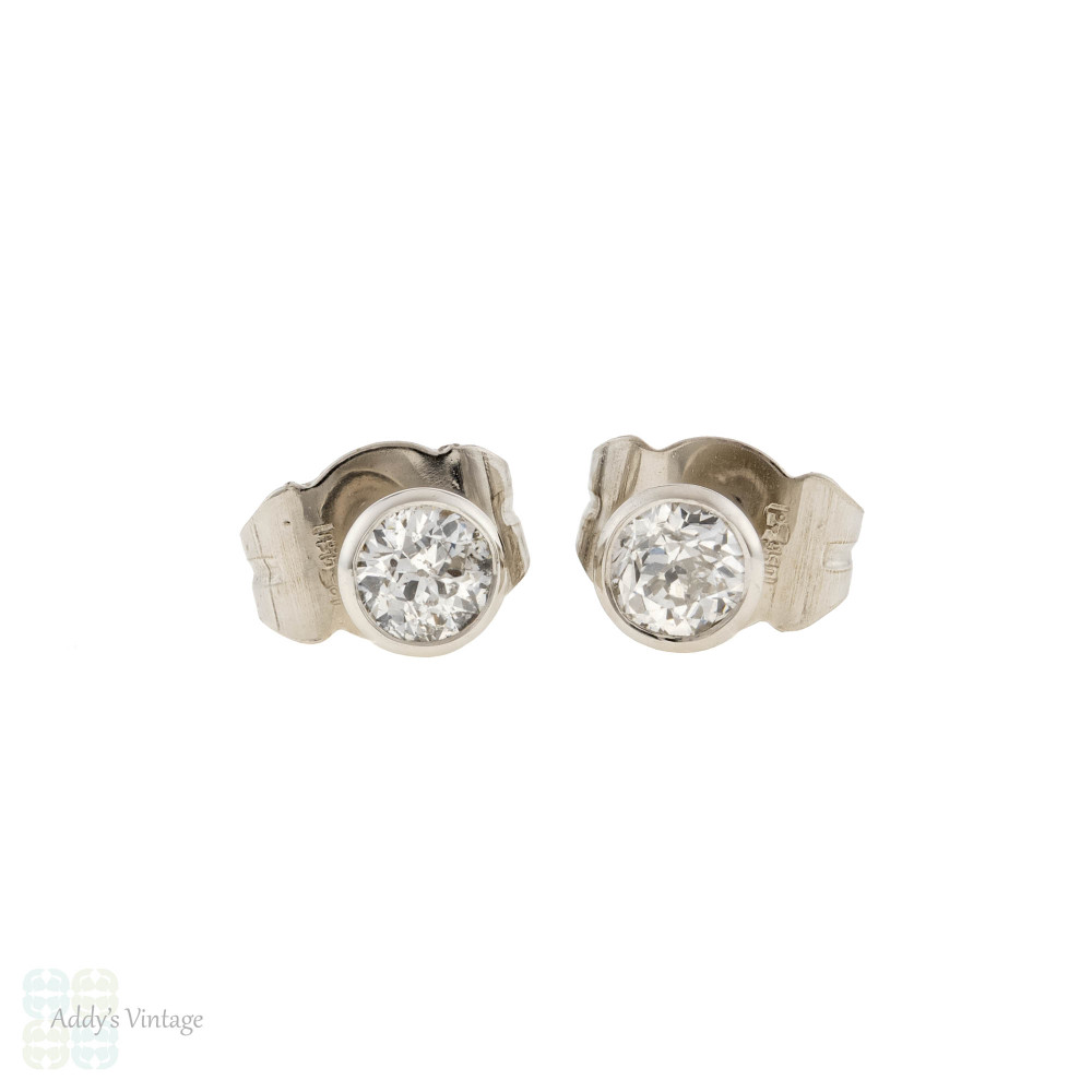 Old European Cut Diamond Baby Bezel Platinum Stud Earrings, 0.31ctw.