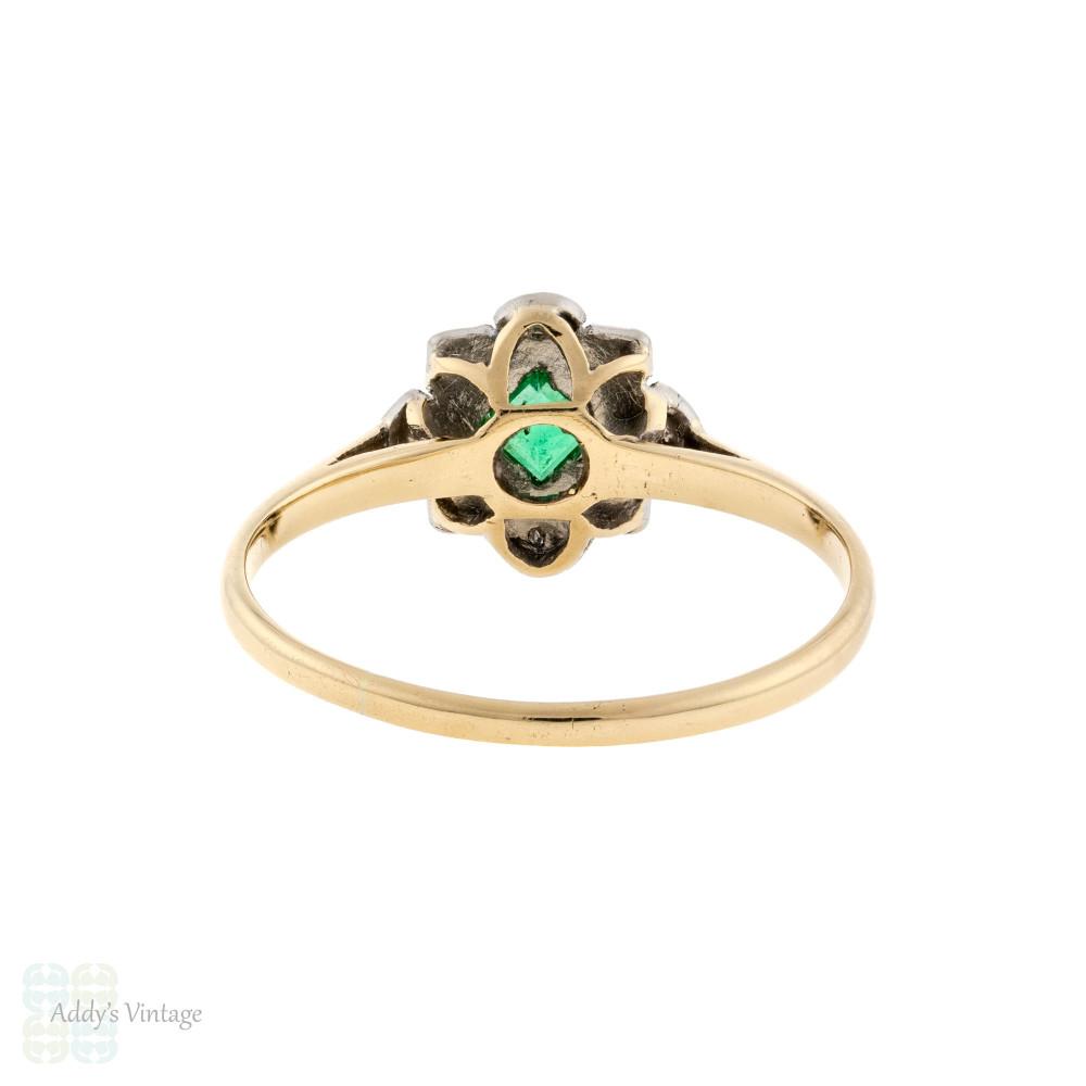 RESERVED Emerald & Diamond Art Deco Engagement Ring, Vintage 1920s 9ct & Platinum Cluster Ring.