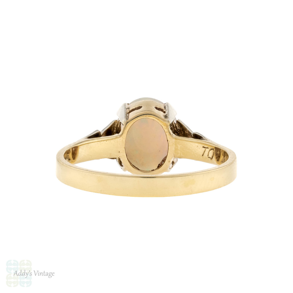Mid Century Opal Single Stone Ring, 1950s Leaf Design Two Tone 9ct 9k Gold Ring.