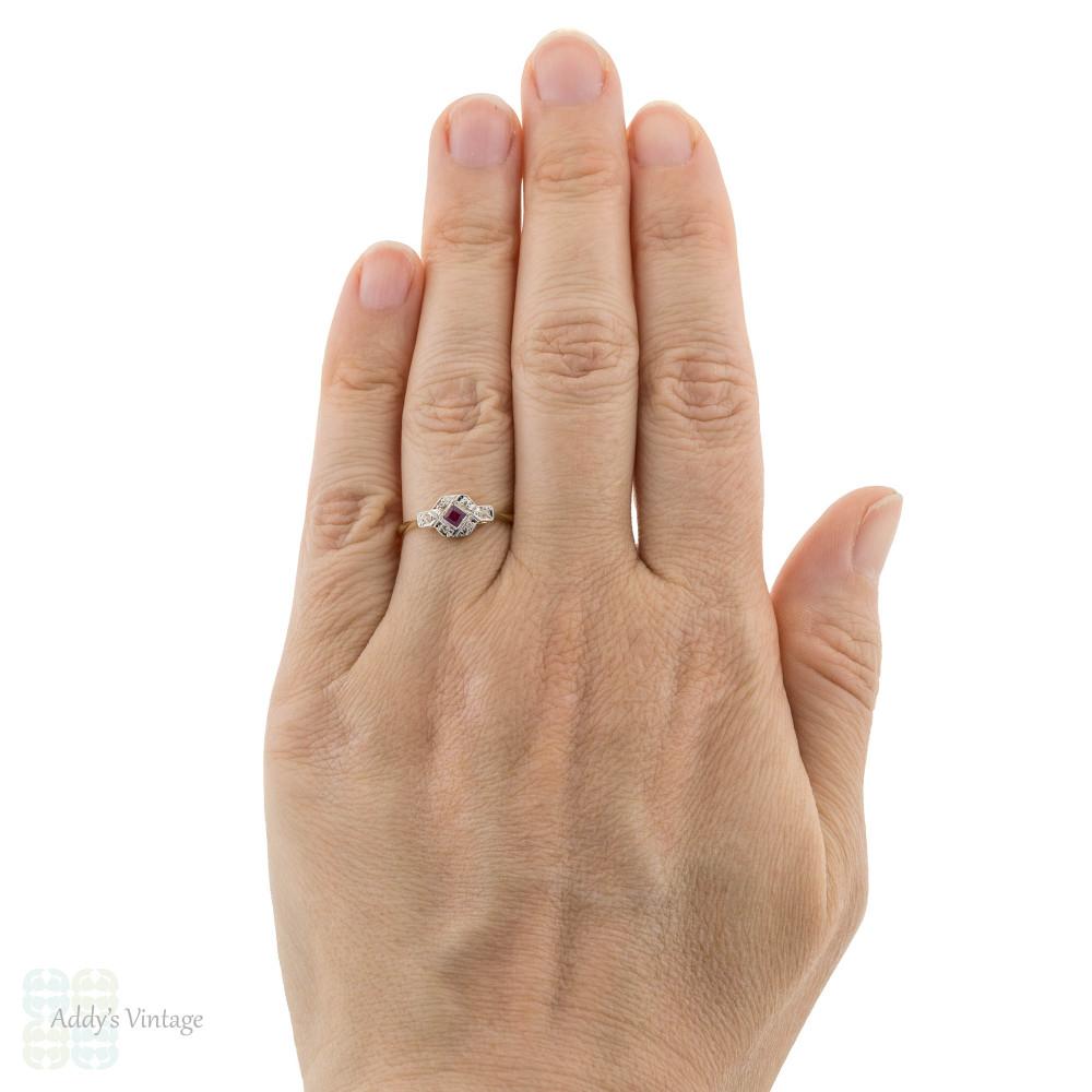 Art Deco Synthetic Ruby & Diamond Engagement Ring, Vintage 18ct & Platinum.