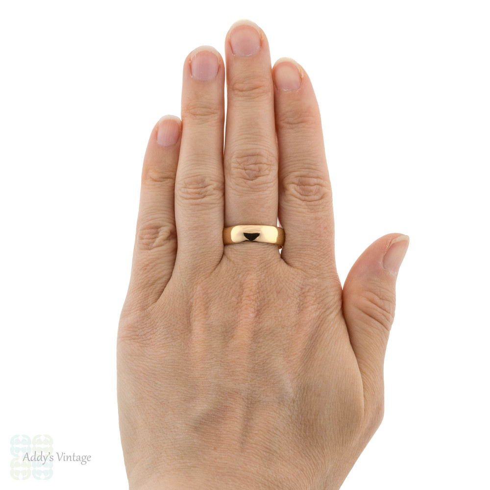 Antique 22ct Wedding Ring, Wide 1910s 22k Men's Wedding Band, Size Y.5 / 12.25.