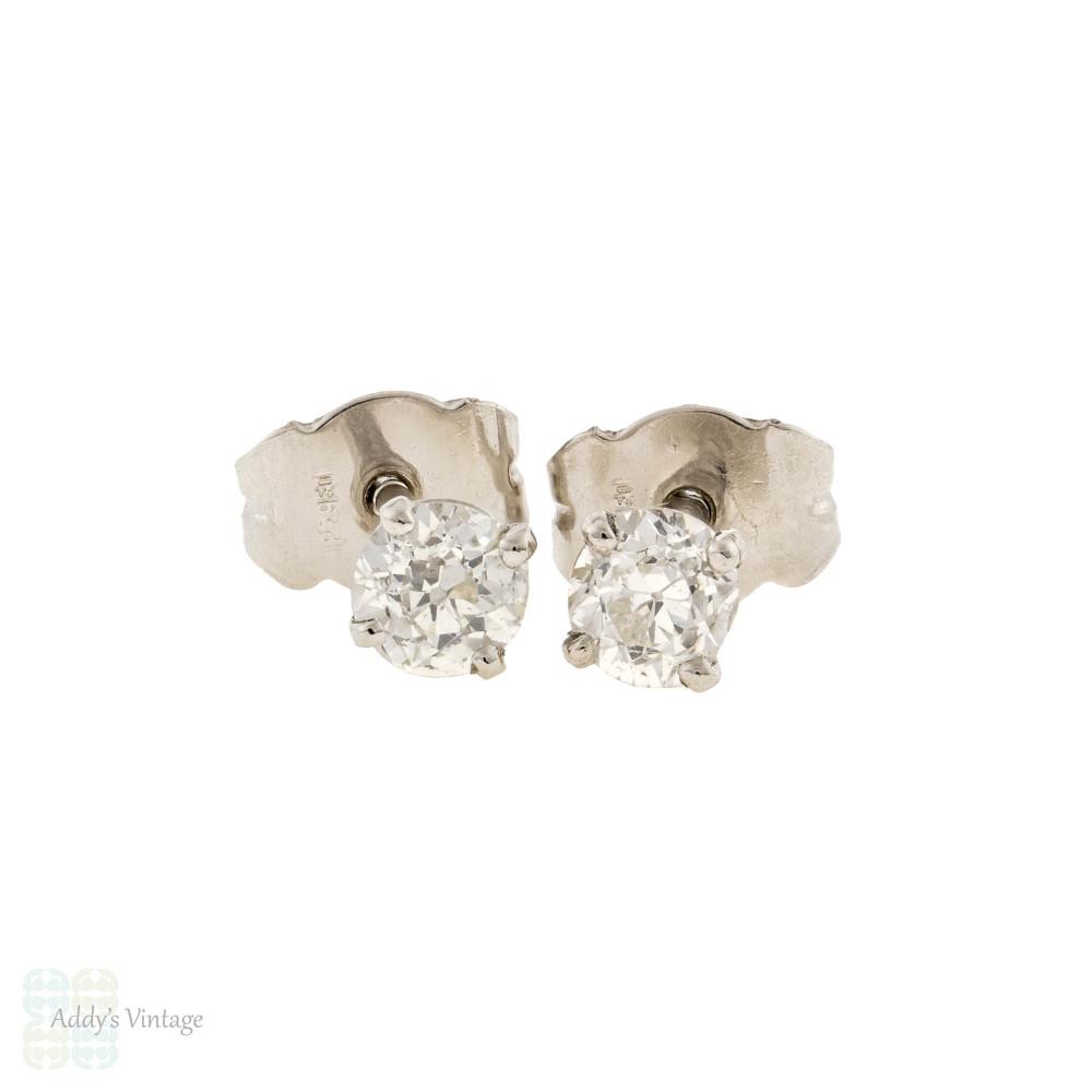 Old European Cut Diamond Stud Earrings, 0.57 ctw Platinum Basket Set OEC Earrings.