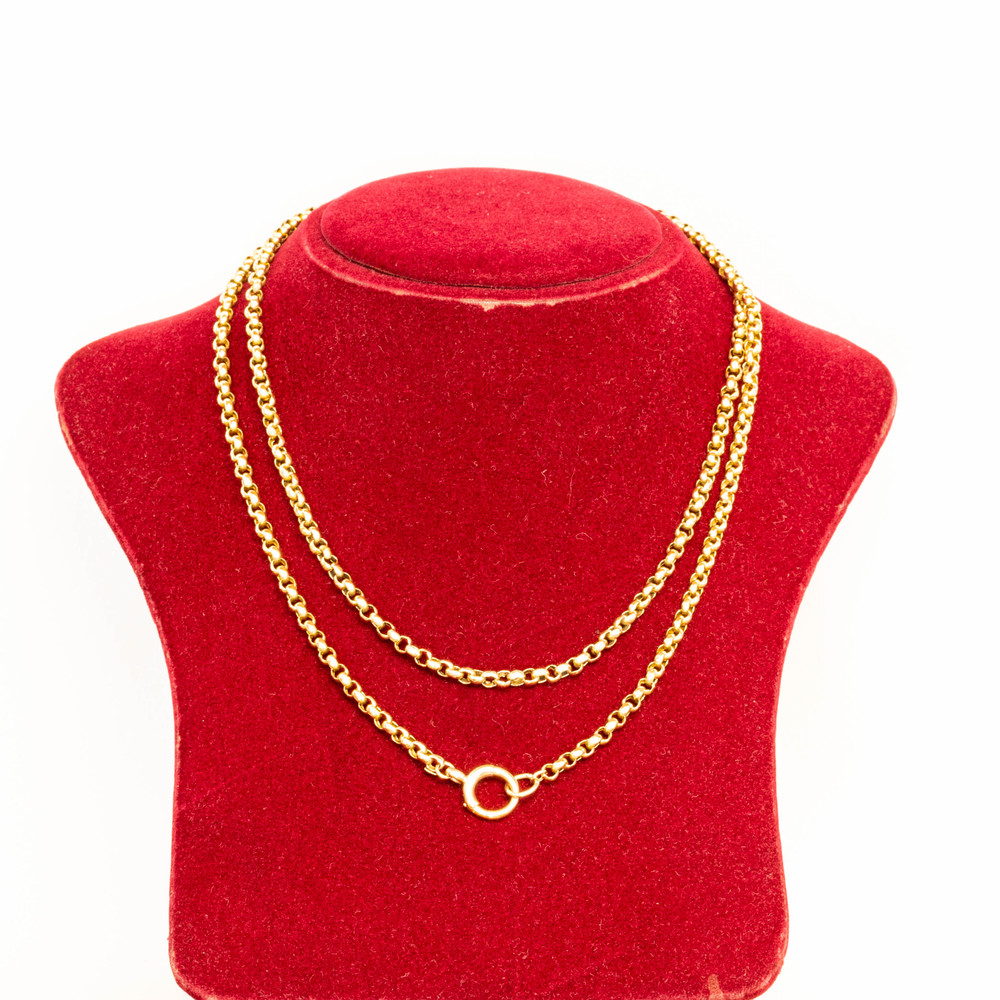 Antique Belcher 9ct Gold Chain, Long Victorian Necklace with Large Clasp, 87 cm / 34.25 inches.