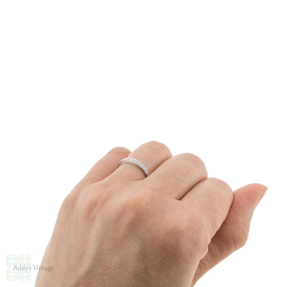 Antique Platinum Full Hoop Diamond Eternity Ring, Slender Engraved Wedding Band Size L.5 / 6.