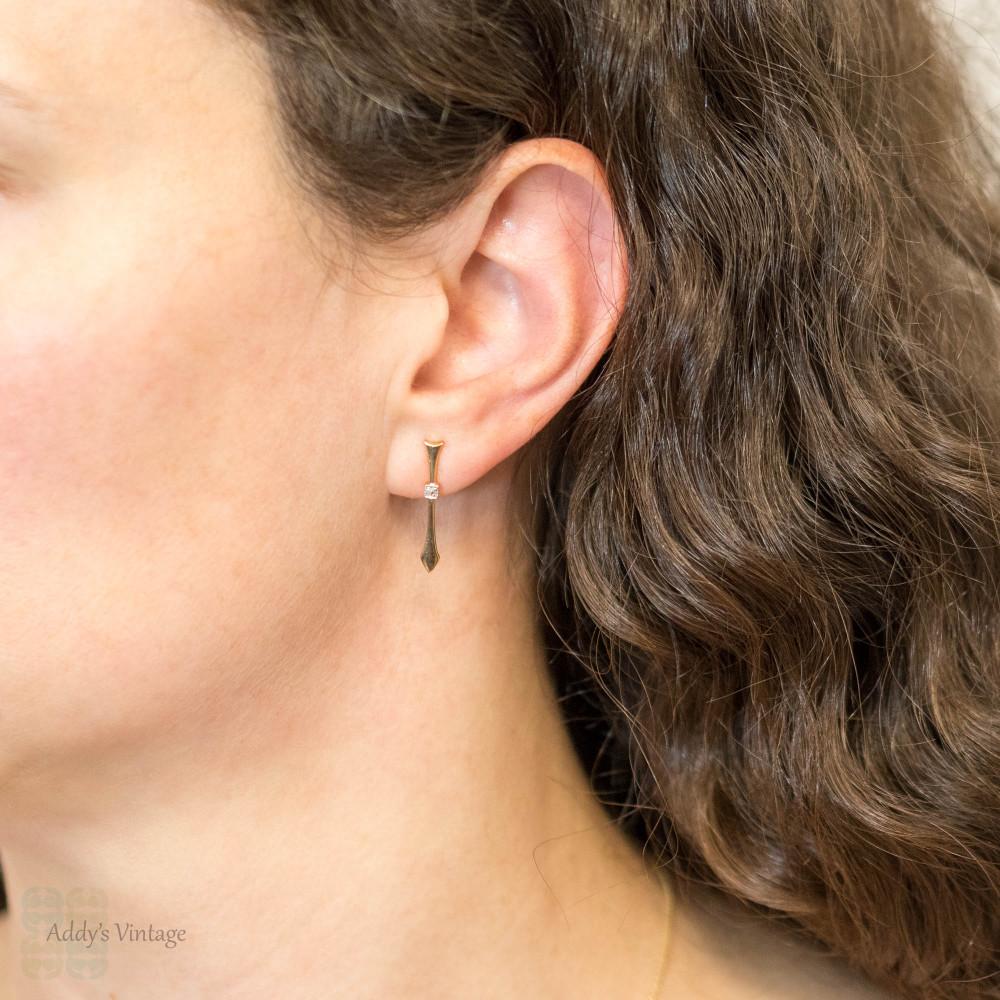 Diamond Spike Bar Earrings, Antique Rose Cut Diamond Arrow Stud Earrings 15ct Yellow Gold.