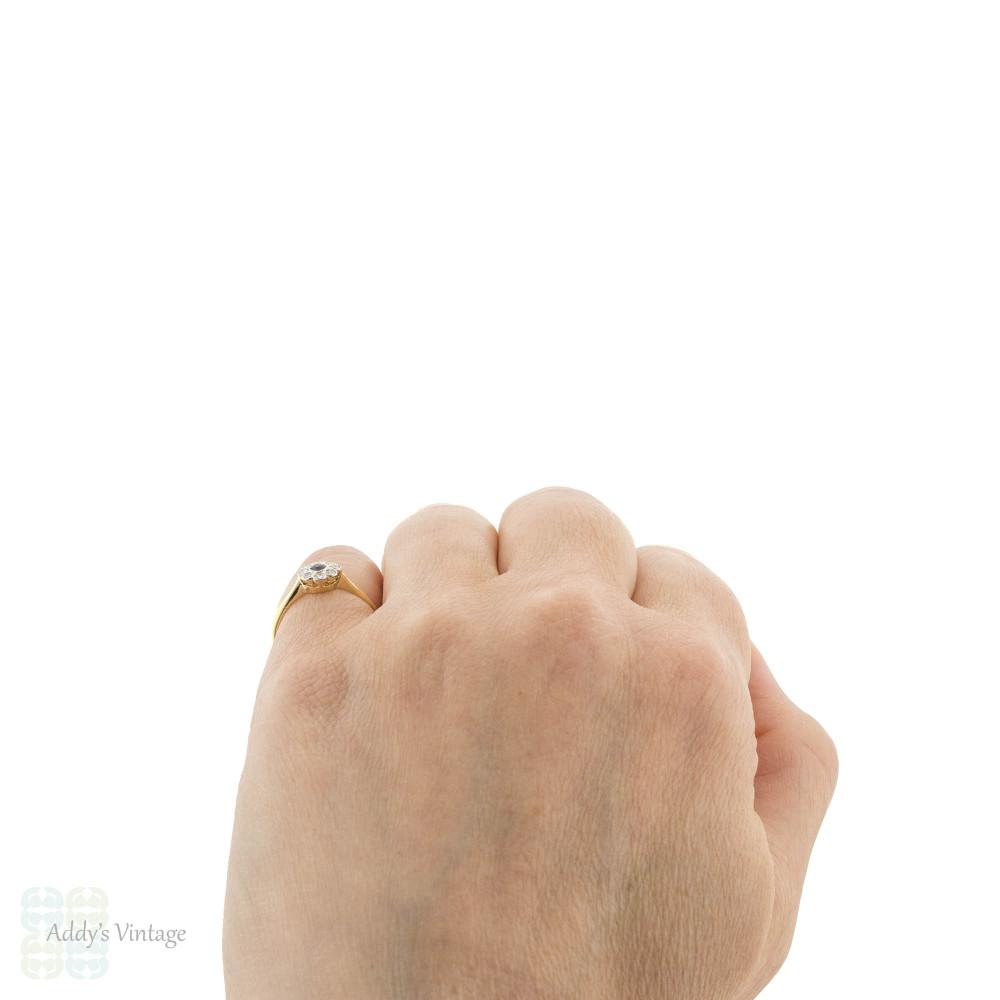 Sapphire & Diamond Art Deco Engagement Ring, Vintage Floral Cluster Design 18ct & PLAT.