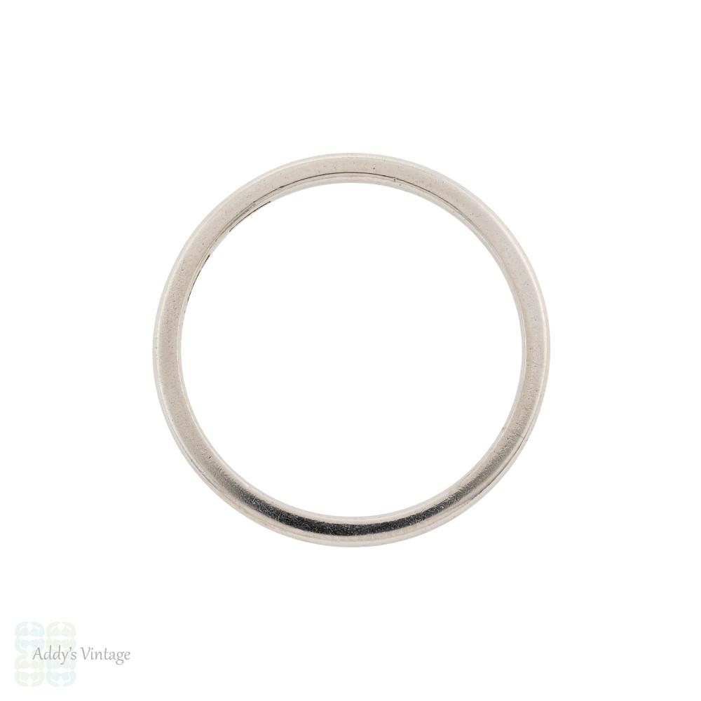 Slender Antique Platinum Ladies Wedding Ring, Simple Narrow Spacer Band Size N.5 / 7.
