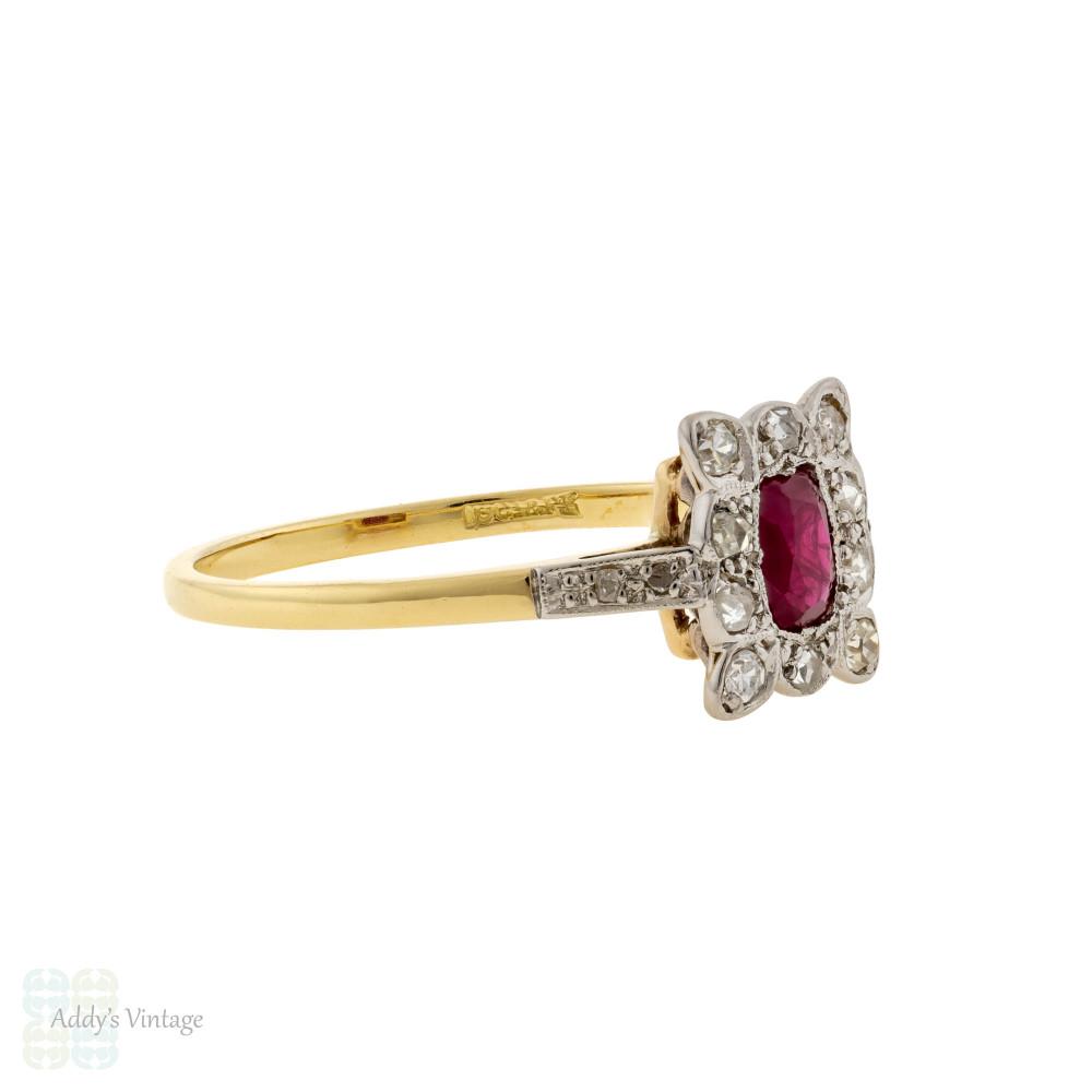 Ruby & Diamond Engagement Ring, Antique Edwardian 18ct Gold & Platinum Cluster Ring.