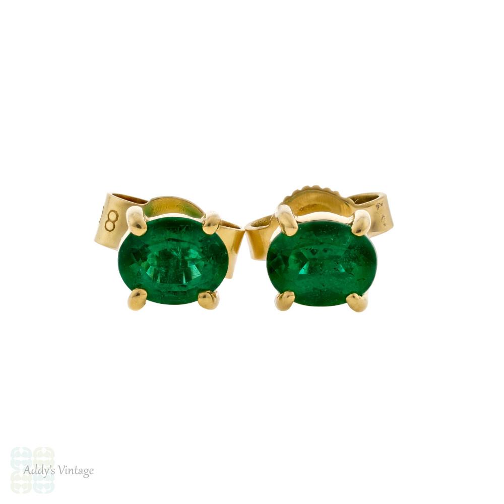 Emerald 18ct Yellow Gold Stud Earrings, Estate Oval Cut 18k Earrings.