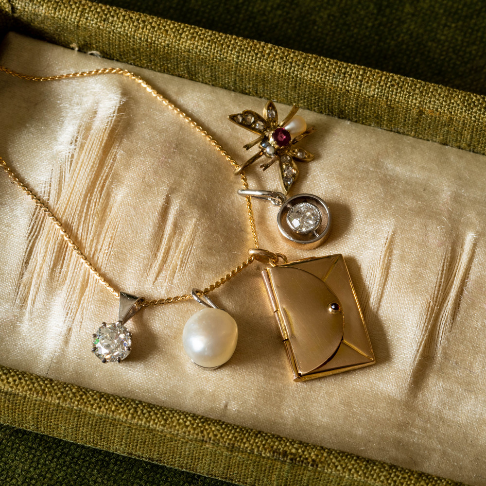 RESERVED Miniature 18ct Envelope Pendant with Garnet Clasp, Antique 18k Gold Love Letter Charm.