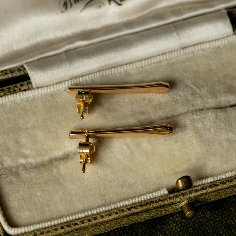 Gold Spike Bar Earrings, 18ct & Platinum Converted Antique Tapered Studs.