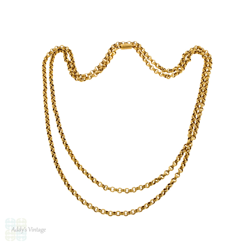 Antique Georgian 14k Necklace, Fancy Rolo Link Long Chain with Barrel Clasp 127 cm / 50 inches