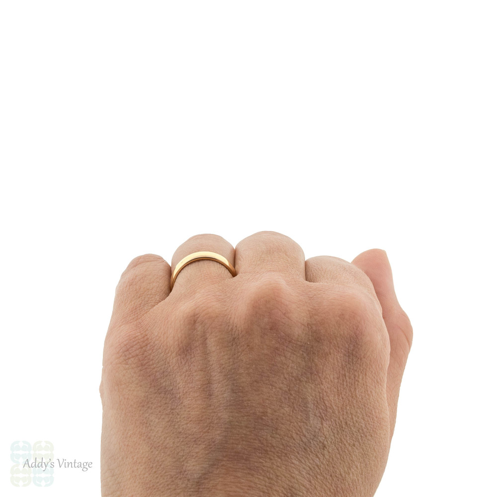 Vintage 22ct Wedding Ring, Wide 1960s Ladies 22k Gold Wedding Band. Size L.5 / 6.25.