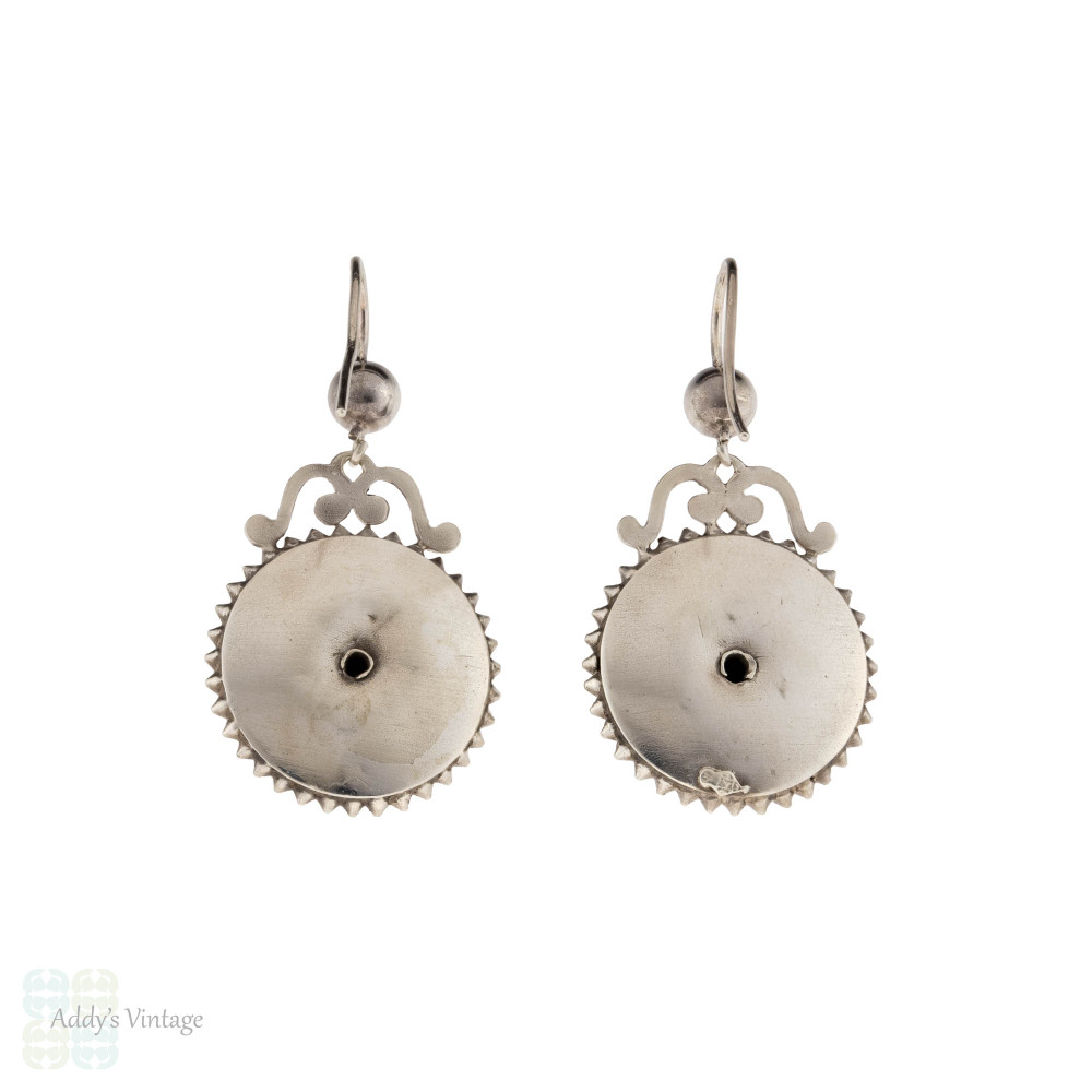 Victorian Sterling Silver Circular Dangle Earrings, Antique 19th Century Tiered Design Drops.