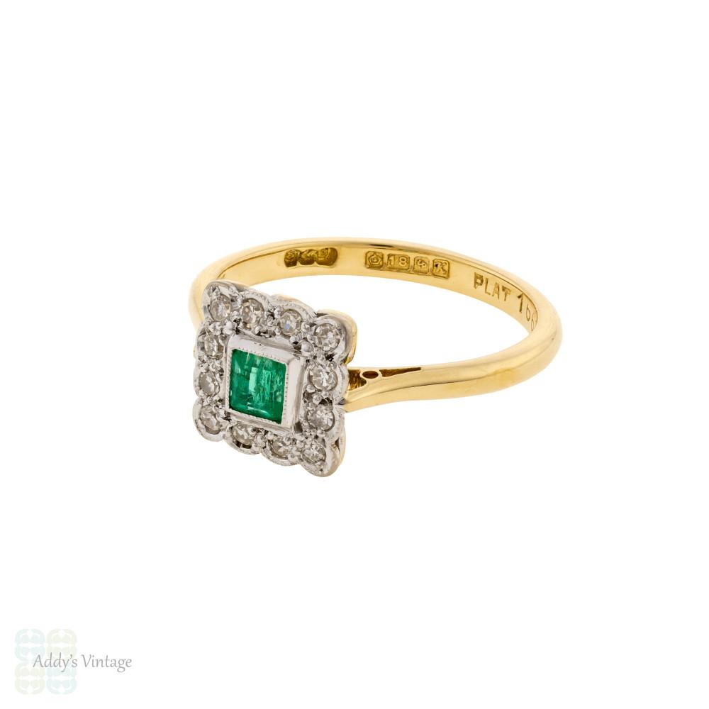 Emerald & Diamond Halo Engagement Ring, 1950s Vintage 18ct Gold & Platinum Ring.