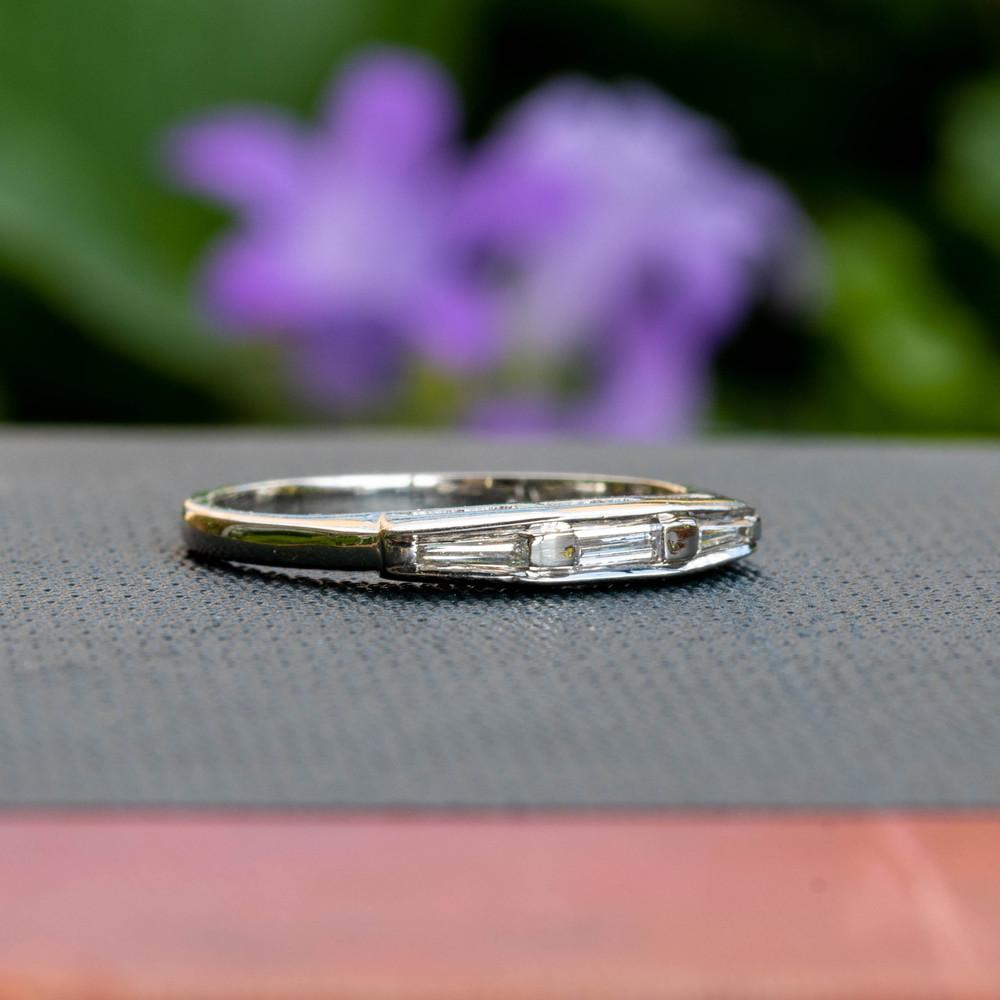 Mid Century Tapered & Straight Baguette Diamond Wedding Ring, Vintage Platinum Three Stone Band.