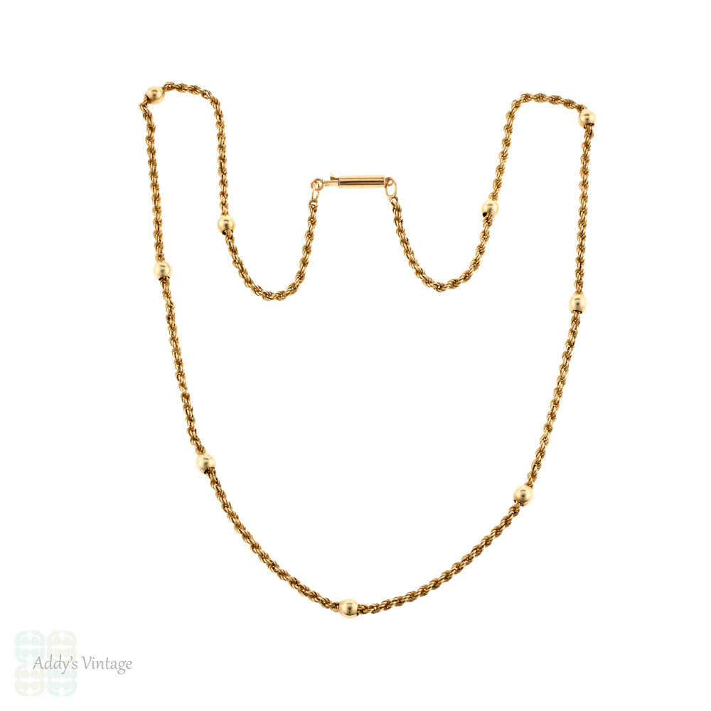 Antique 9ct Rose Gold Beaded Station Necklace with Barrel Clasp, 47 cm / 18.5 inches.