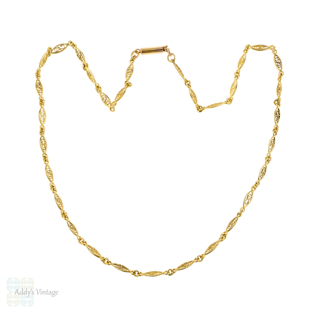 Vintage Filigree Link 9ct 9k Yellow Gold Chain with Barrel Clasp, 41 cm / 16.25 inches.