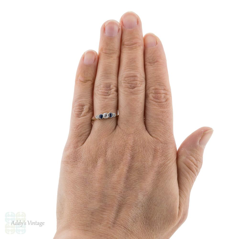 Old Mine Cut Diamond & Sapphire Five Stone Ring, 18ct Antique Alternating Bezel Band.