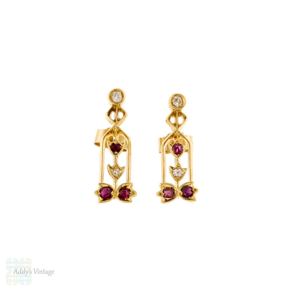 Ruby & Old Mine Cut Diamond Stud Earrings, Converted Antique 15ct Gold Floral Drops.