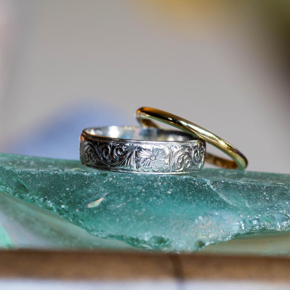 Hand Engraved Wide Platinum Wedding Band, Vintage Floral Pattern Ring Size N.5 / 7.