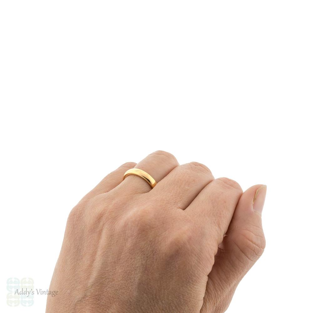 Vintage 22ct Gold Ladies Wedding Ring, Heavy 1920s Art Deco 22k Band Size N / 6.75