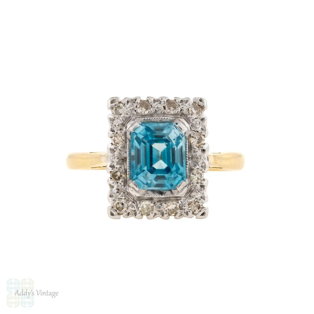 Vintage Blue Zircon & Diamond Halo Engagement Ring, Step Cut Gem 18ct & Platinum.
