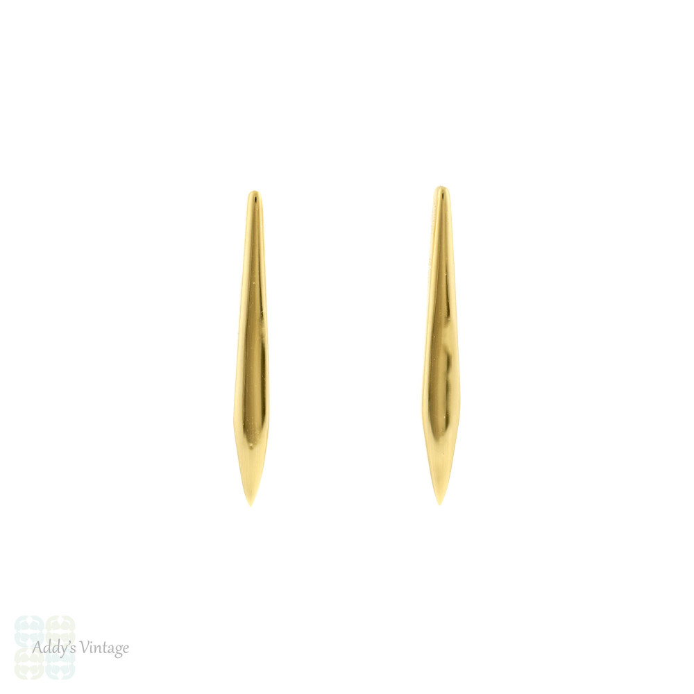 Tapered 15ct Gold Bar Earrings, 15k Yellow Gold Converted Antique Spiked Studs.