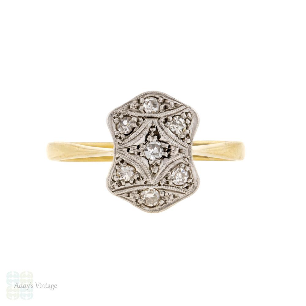 Vintage Art Deco Diamond Engagement Ring, Geometric Miligrain Design 18ct & PLAT.