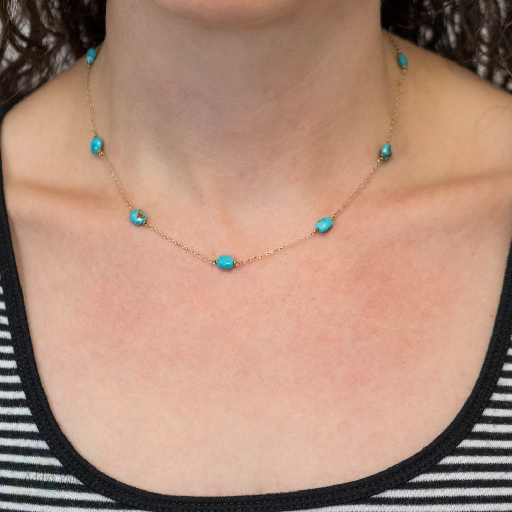 Antique Turquoise Station Necklace, Edwardian 9ct 9k Gold Chain, 42 cm / 16.5 inches.