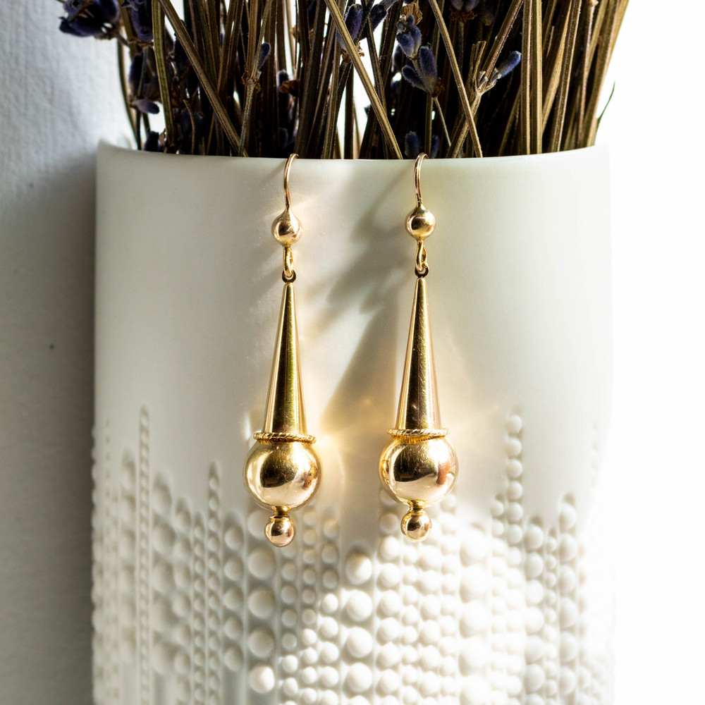 Antique 9ct Gold Tapered Drop Earrings, Victorian Articulated 9k Dangles.