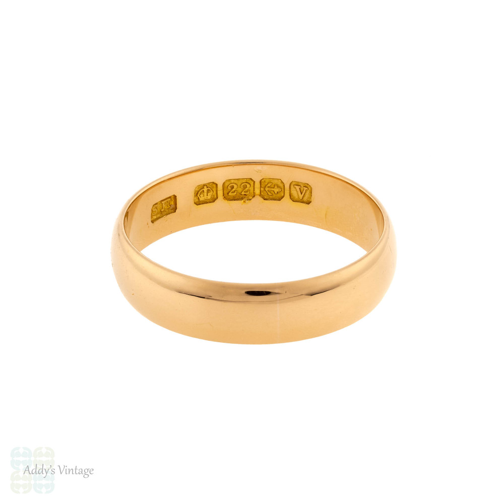 Antique 22ct Men's Wedding Ring, Wide 1920s 22k Band Size R / 8.75.