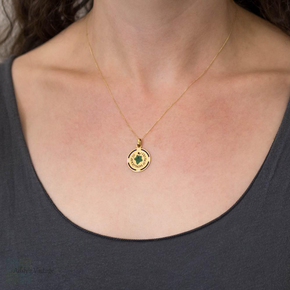 RESERVED French 18ct Ivy Leaf Pendant, Antique Sentimental 18k Gold Charm.