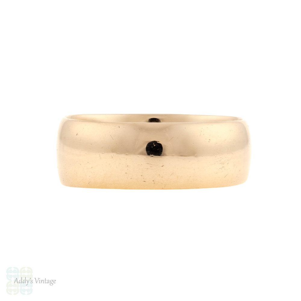 Antique 9ct Rose Gold Wedding Ring, 9k 1900s Cigar Wedding Band Size L.5 / 6.