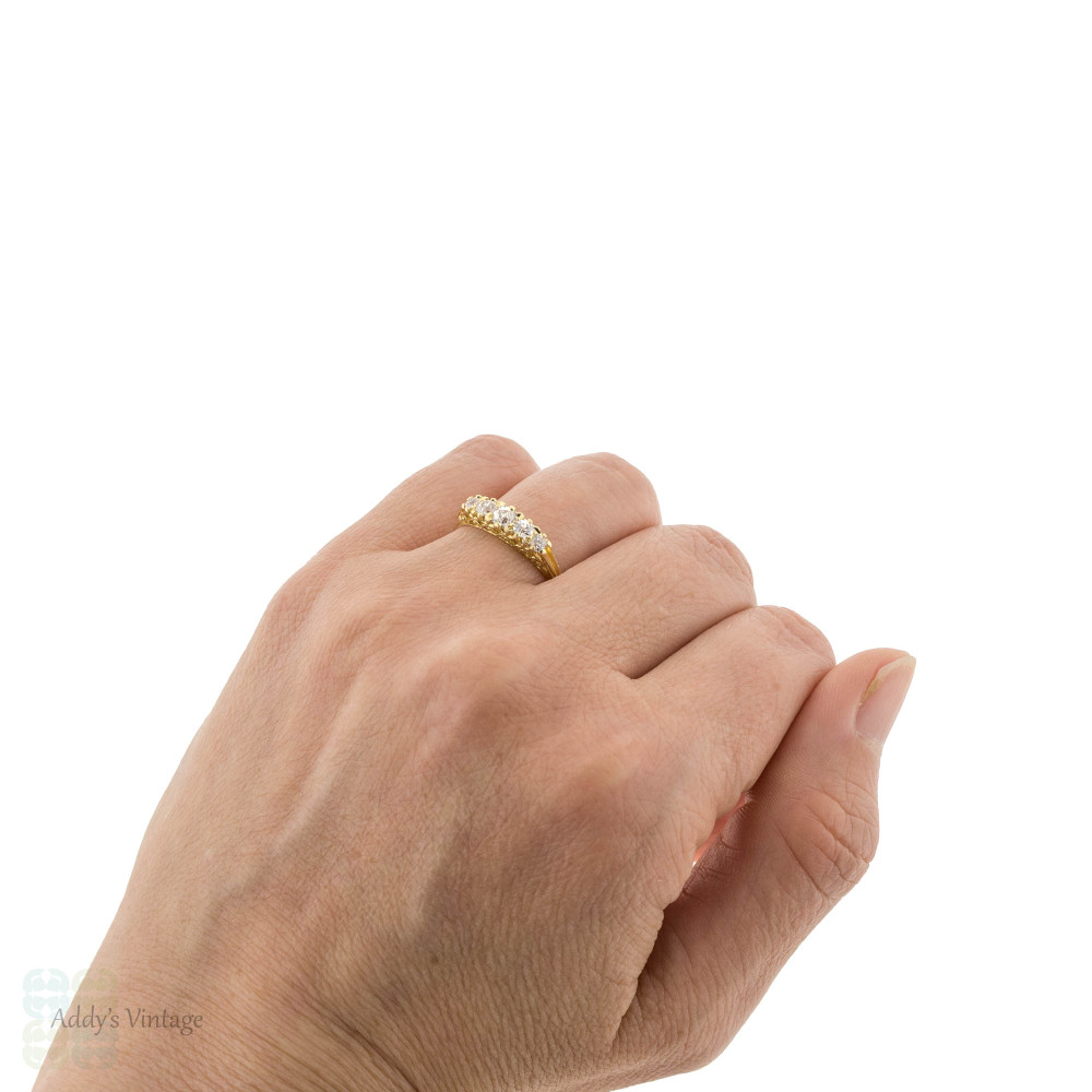 Old European Cut Diamond Five Stone Ring, 18ct 18k Gold Graduated Design 0.65 ctw.