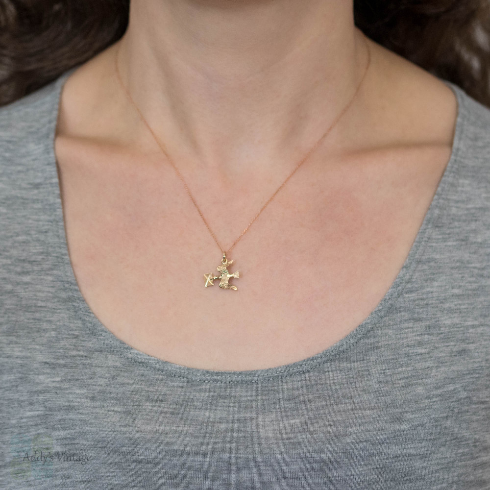 Dove with Letter 9ct 9k Rose Gold Charm, Carrier Bird Pendant.