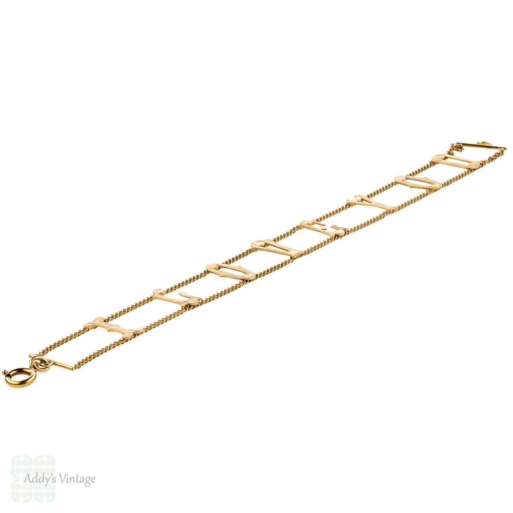Vintage I LOVE YOU 9ct Gold Bracelet, Circa 1960s 9k Rose Gold London Hallmarks.