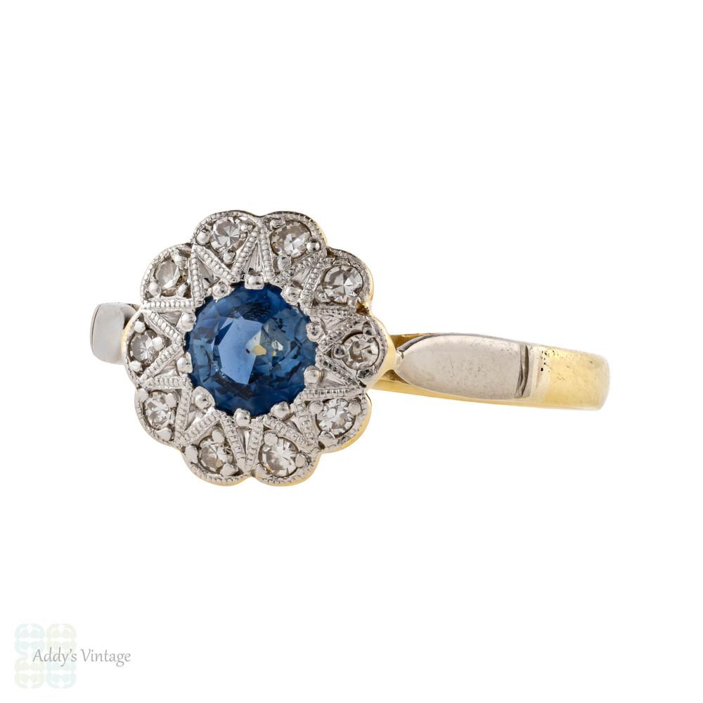 Floral Sapphire & Diamond Engagement Ring, Art Deco 18ct & Platinum Vintage Ring.