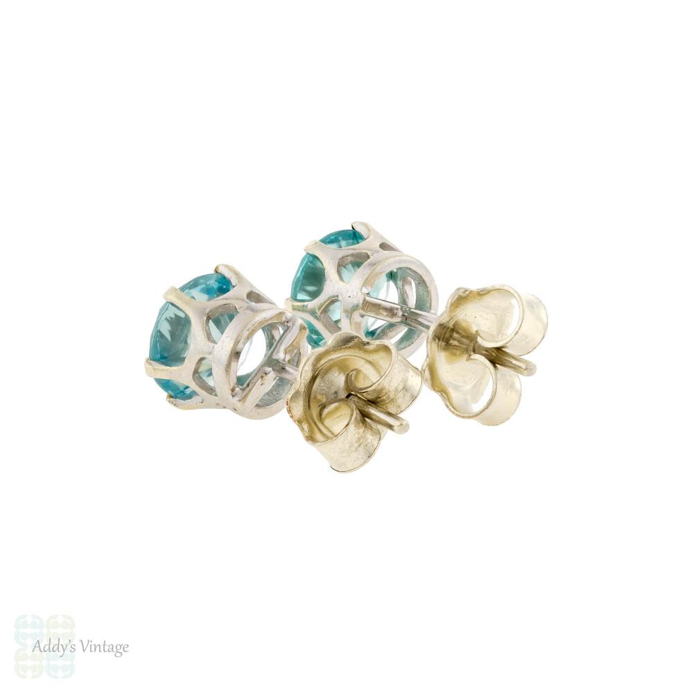 Blue Zircon 9ct Stud Earrings, Vintage Single Stone Studs in 9k White Gold.