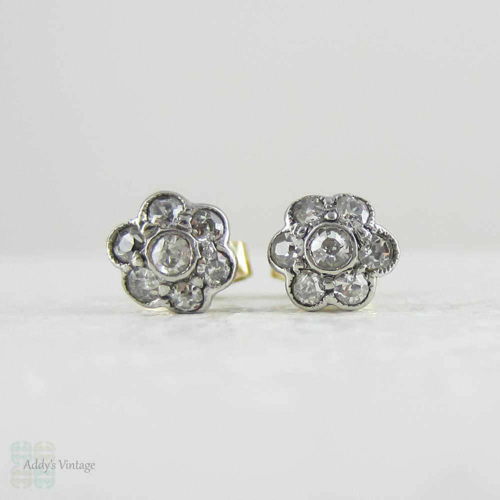 e52cf4a92 ... Sweet Antique Diamond Stud Earrings, Daisy Shaped Diamond Cluster Stud  Earrings in 9 Carat Gold ...
