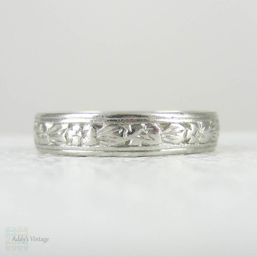 Art Deco Platinum Wedding Ring Ladies Engraved Orange Blossom Flower Pattern Band: Flower Pattern Wedding Ring At Reisefeber.org