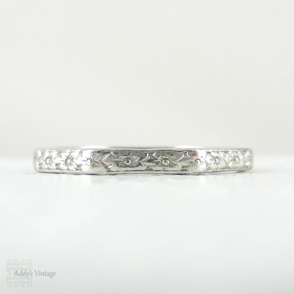 daf3e9d7d Vintage Orange Blossom Hand Engraved Platinum Ring, Wedding Ring in a  Faceted Shaped with Floral Engraving, Art Deco Ring. - Addy's Vintage