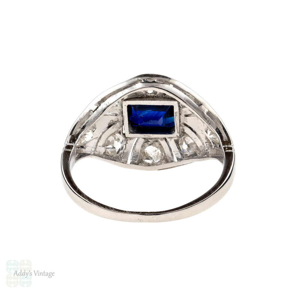 Art Deco Bombé Style Platinum Cocktail Ring. Old European Cut Diamonds & Baguette Cut Blue Sapphire.