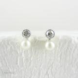 Vintage Diamond & Cultured Pearl Stud Earrings, Old European Cut Diamonds and White Pearls, 14 Carat Gold & Platinum.