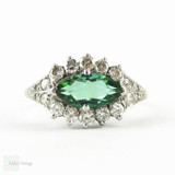 Vintage Tourmanline Ring, Green Marquise Cut Tourmaline with Diamond Halo. Mid Century Cluster Ring, 18ct Gold & Platinum.