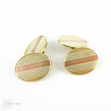 RESERVED. Vintage Men's 9ct Cuff Links. Yellow, Rose & White Gold Oval Double Faced Cufflinks with Engine Turned Design, Circa 1930s.