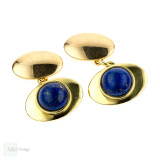 Mid Century Lapis Lazuli 18ct Cuff Links. Vintage 18k Yellow Gold Oval Cufflinks.