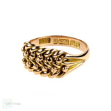 Antique Keeper Ring, Victorian 9ct Rose Gold Wide Braided Band. 9k Gold, Circa 1910s.
