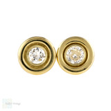 Old Cut Diamond Stud Earrings, 14k 14ct Yellow Gold Bezel Set 0.34 ctw Diamonds.